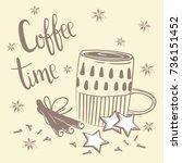doodles coffee set. vector... | Shutterstock .eps vector #736151452