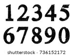 set of grunge numbers.vector... | Shutterstock .eps vector #736152172