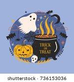 halloween banner with funny... | Shutterstock .eps vector #736153036