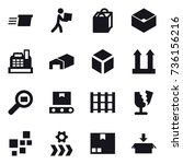 16 vector icon set   delivery ... | Shutterstock .eps vector #736156216
