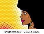 african american pop art female ... | Shutterstock .eps vector #736156828