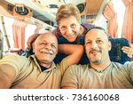 senior happy couple with son...   Shutterstock . vector #736160068