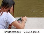 women play mobile | Shutterstock . vector #736161016