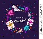 square banner  poster  greeting ... | Shutterstock .eps vector #736166782