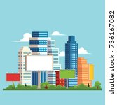 vector flat cartoon cityscape... | Shutterstock .eps vector #736167082