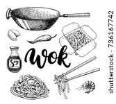 wok drawing with lettering.... | Shutterstock . vector #736167742