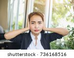 attractive woman covering with... | Shutterstock . vector #736168516