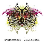 abstract butterfly splashes.... | Shutterstock .eps vector #736168558