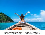 traveler woman in bikini... | Shutterstock . vector #736169512