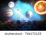 composite image of solar system ... | Shutterstock . vector #736172125