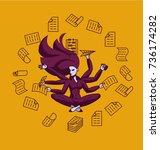 business superwoman  a lot of... | Shutterstock .eps vector #736174282