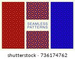 set of minimalist seamless... | Shutterstock .eps vector #736174762