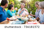 group of friends gathered... | Shutterstock . vector #736181572