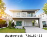beautiful exterior of newly... | Shutterstock . vector #736183435