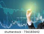 business man on digital stock... | Shutterstock . vector #736183642