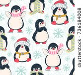seamless pattern with cute... | Shutterstock .eps vector #736184008
