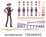 policeman in black uniform... | Shutterstock .eps vector #736184692