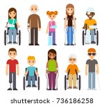 sick and disabled characters... | Shutterstock .eps vector #736186258