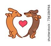 cute cartoon dachshunds in love ... | Shutterstock .eps vector #736186966