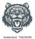 angry gray bear head mascot.... | Shutterstock .eps vector #736193458