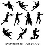 Silhouettes of movie action sequence shootout men and women in dynamic poses - stock vector