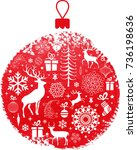 christmas and new year graphic... | Shutterstock .eps vector #736198636