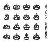 carving face halloween pumpkin... | Shutterstock .eps vector #736199206