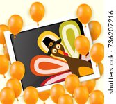happy thanksgiving day... | Shutterstock .eps vector #736207216