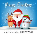happy christmas characters as... | Shutterstock .eps vector #736207642