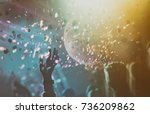 disco ball with lights and... | Shutterstock . vector #736209862