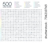 vector illustration of 500 thin ...