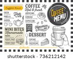 coffee drink menu for... | Shutterstock .eps vector #736212142