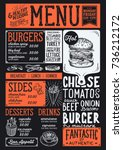 burger food menu for restaurant ... | Shutterstock .eps vector #736212172