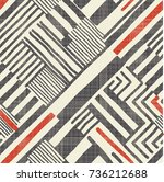 seamless hand drawn stripe... | Shutterstock .eps vector #736212688
