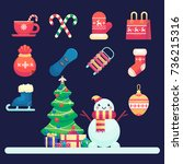merry christmas icons  snowman  ... | Shutterstock .eps vector #736215316