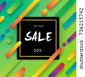 mid year sale background with... | Shutterstock .eps vector #736215742