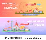theme park   set of modern flat ... | Shutterstock .eps vector #736216132