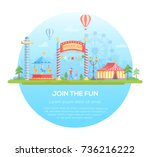 join the fun   modern flat... | Shutterstock .eps vector #736216222