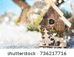 christmas ornament on wooden... | Shutterstock . vector #736217716