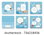 boy album set. covers and pages ... | Shutterstock . vector #736218436