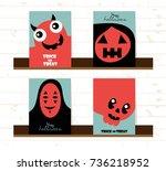 set of vector happy halloween... | Shutterstock .eps vector #736218952