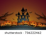 halloween with castle and... | Shutterstock .eps vector #736222462