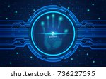 hand scan in futuristic style ... | Shutterstock .eps vector #736227595
