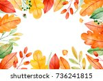 colorful autumn frame with... | Shutterstock . vector #736241815