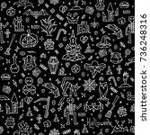 happy halloween pattern with...   Shutterstock .eps vector #736248316
