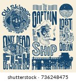 sea and nautical typography and ... | Shutterstock .eps vector #736248475