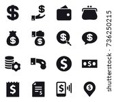 16 vector icon set   dollar ... | Shutterstock .eps vector #736250215