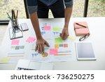 asian business man hand holding ... | Shutterstock . vector #736250275