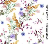 field bouquet of watercolor on... | Shutterstock . vector #736251688