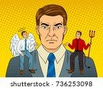 devil and angel on businessman...   Shutterstock .eps vector #736253098